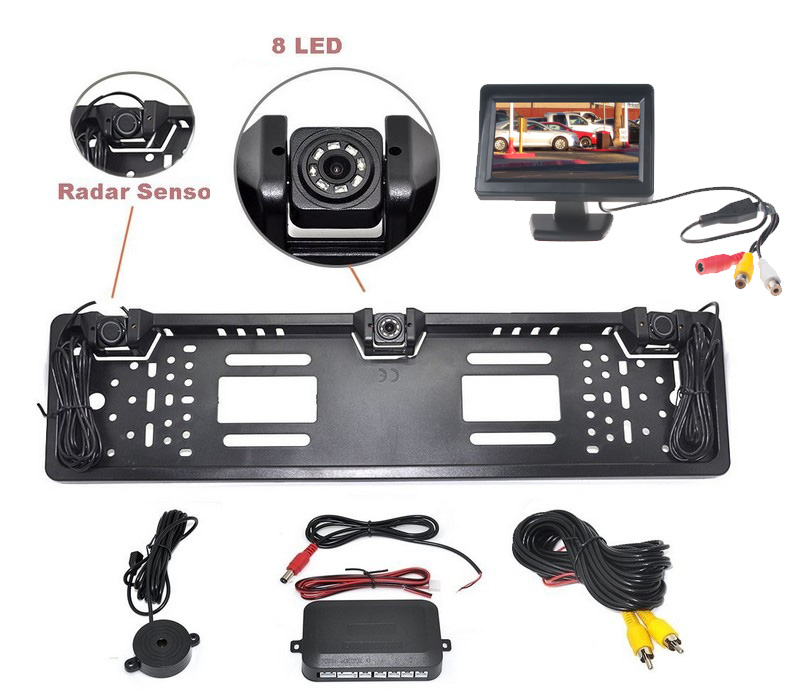 Parkovací systém s kamerou a 2 senzory v SPZ, 4,3