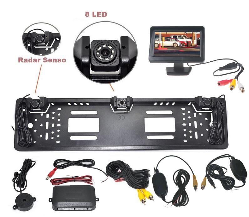 Bezdrátový parkovací systém s kamerou a 2 senzory v SPZ, 4,3