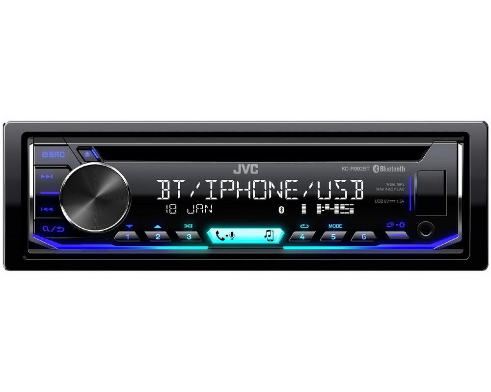 JVC autorádio s CD/MP3/USB/AUX/Bluetooth připojení/multicolor podsvícení/odním.panel
