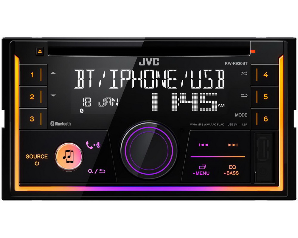 JVC 2DIN autorádio s CD/USB/AUX/Bluetooth/Multicolor