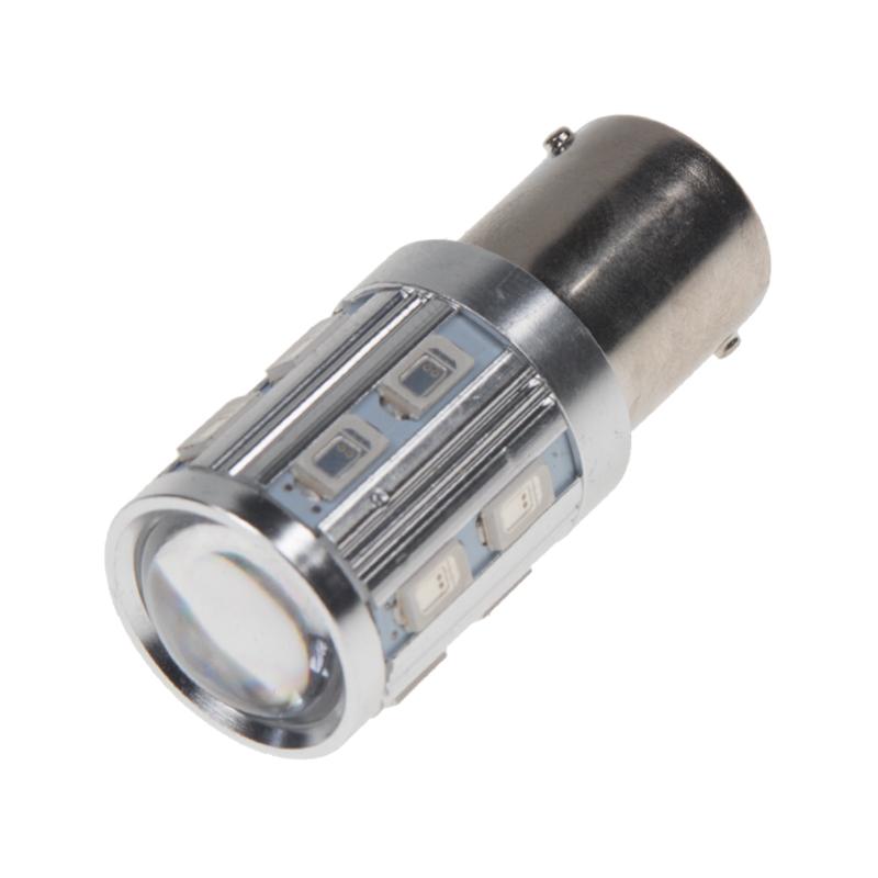 LED BA15S červená, 12SMD Samsung + 3W Osram 10-30V