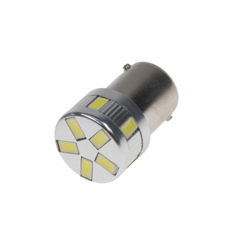 LED BA15s bílá, 12-24V, 11LED/5730SMD