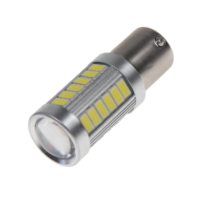 LED BA15s bílá, 12-24V, 33LED/5730SMD s čočkou