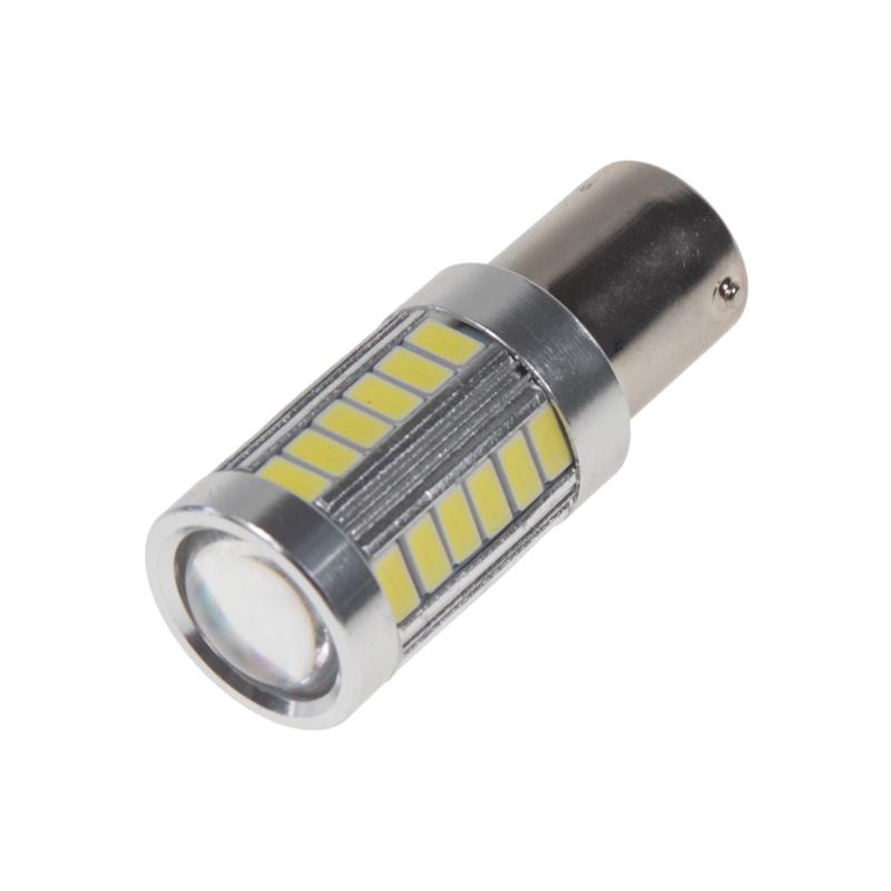 LED BAU15s bílá, 12-24V, 33LED/5730SMD s čočkou