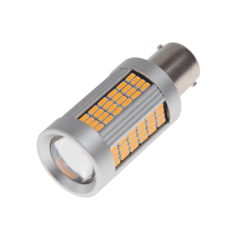 LED BA15s oranžová, 12-24V, 135LED/4014SMD