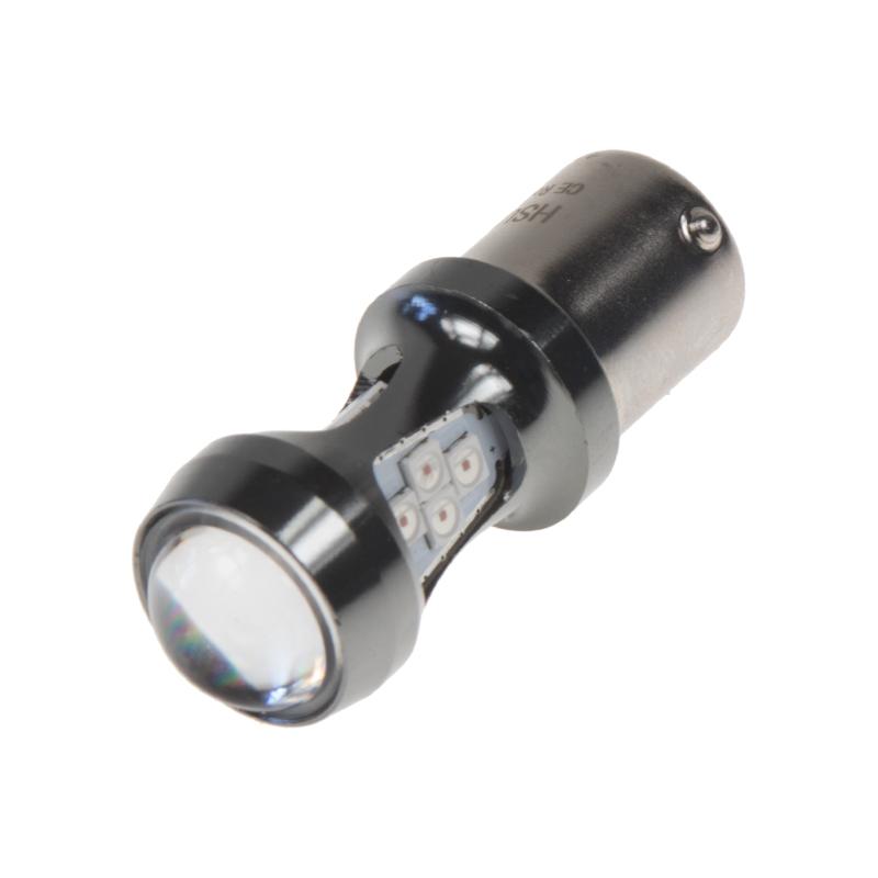 LED BA15s červená, 12-24V, 16LED/3030SMD