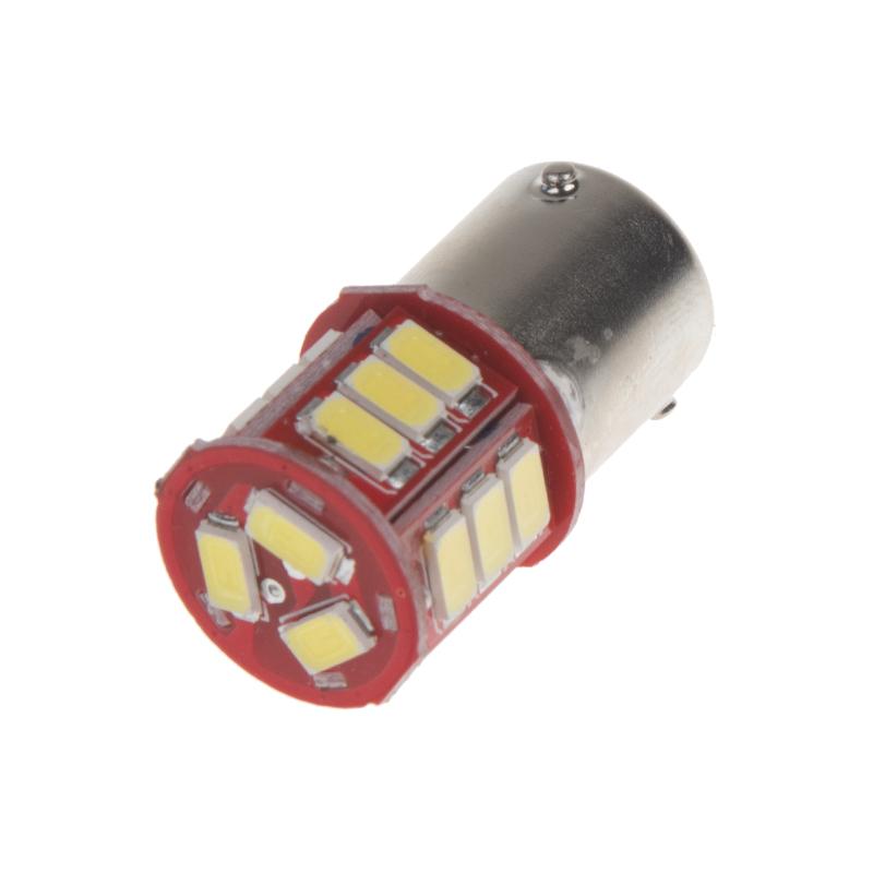 LED BAU15s bílá, 12-24V, 18LED/5730SMD