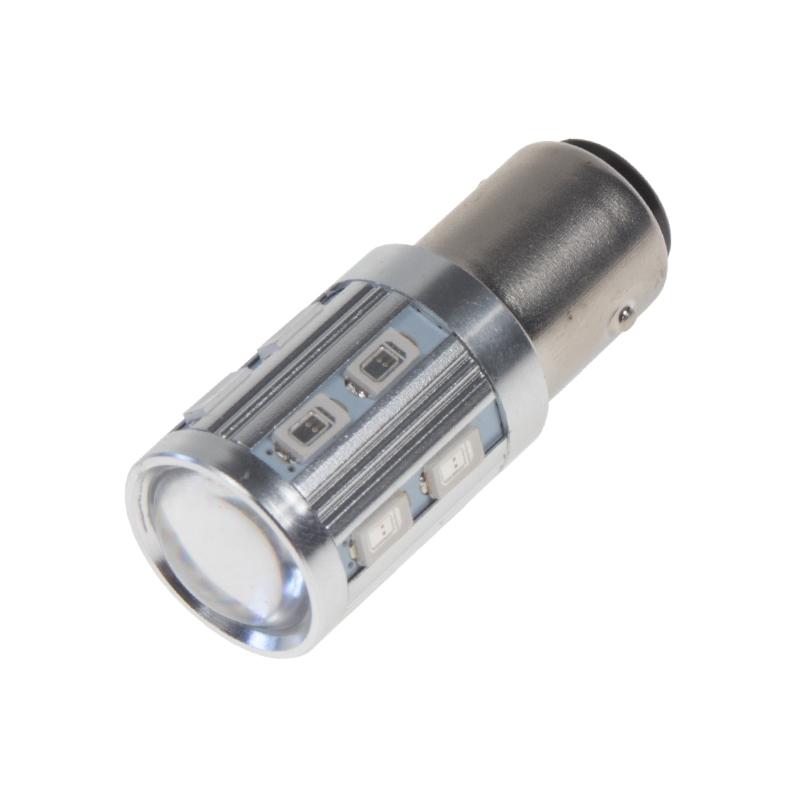 LED BAY15D červená, 12SMD 5630 + 3W Osram 10-30V