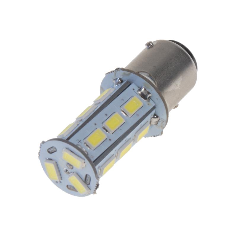 LED BAY15d (dvouvlákno) bílá, 12V, 18LED/5730SMD