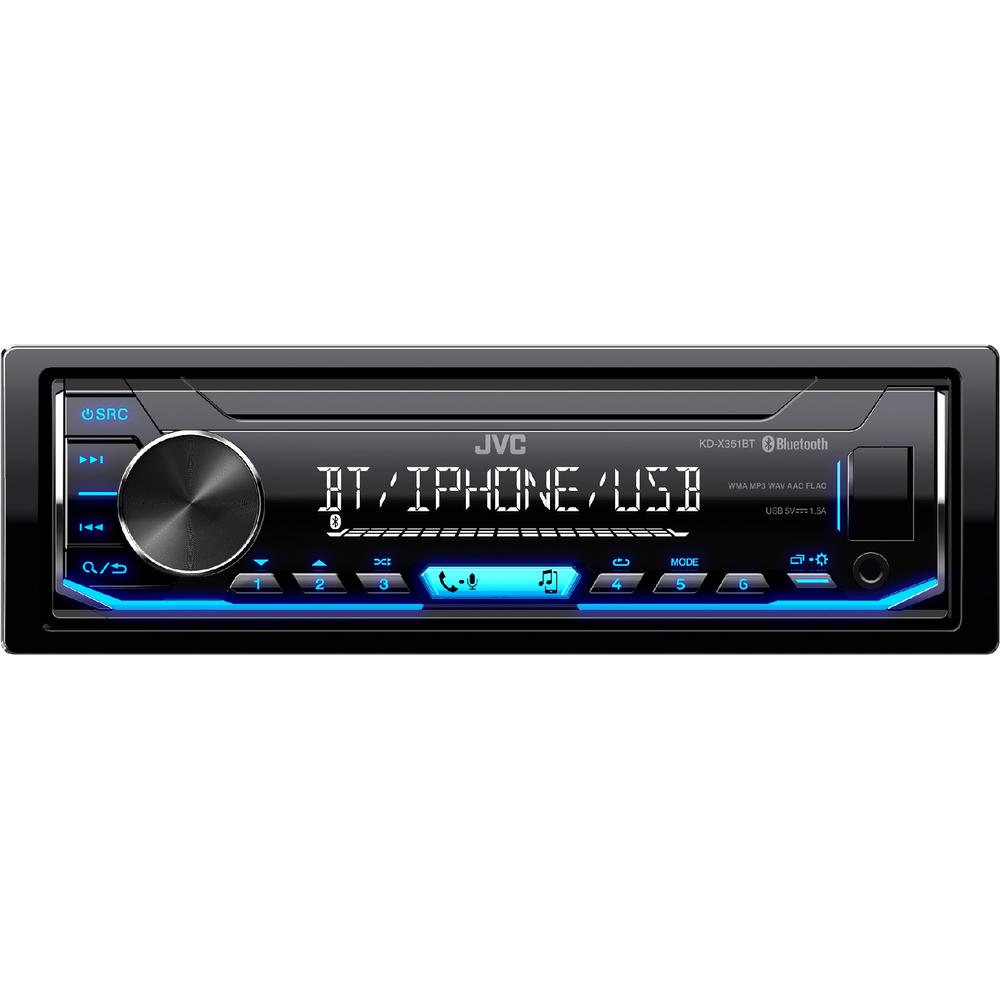 JVC autorádio bez mechaniky/Bluetooth/USB/AUX/modré podsvícení/odním.panel