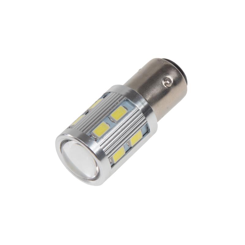 LED BAZ15D bílá, 12SMD Samsung + 3W Osram 10-30V